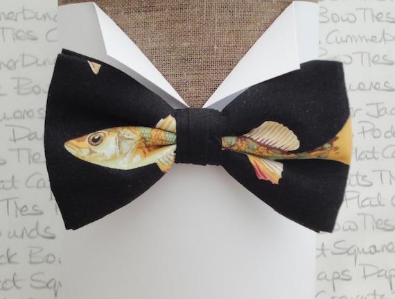 Fish print bow tie, bow ties for men, pre tied bow tie