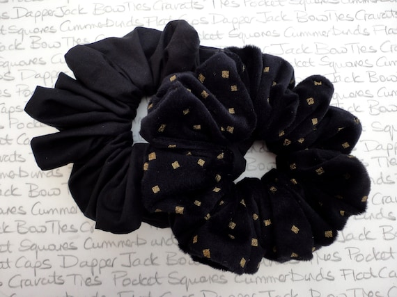 Pack of Two Black Scrunchies, Velour Scrunchie with a Gold Diamond Print and a Plain Black Cotton Scrunchie