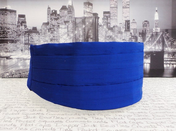 Royal blue silk cummerbund, bow tie and pocket square set
