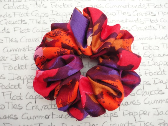 Scrunchies, Multi Coloured Scrunchy, Red Pink Purple Scrunchy, Gifts For Girls, Stocking Filler, Wedding Scrunchy, Glamorous Scrunchy
