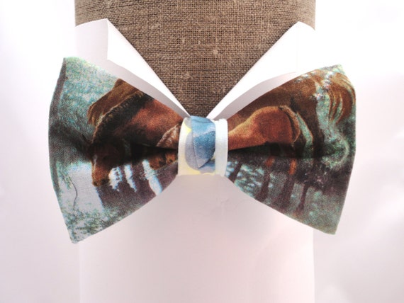 "Horse print pre tied bow tie, will fit neck size up to 20"" (50cms)"