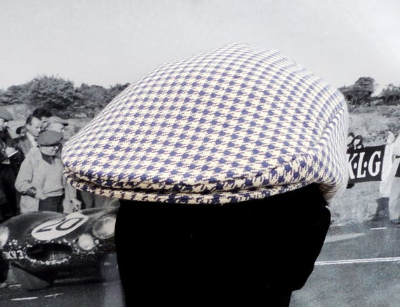 Flat Cap, Hats for Men, Navy and Cream Houndstooth Check Flat Cap
