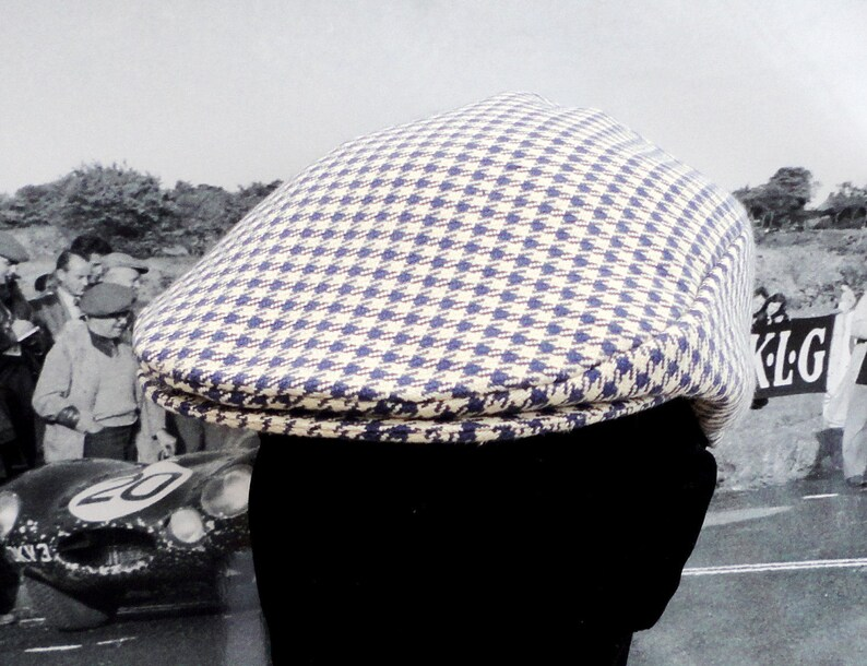 fbfdecc566253 Flat Cap Hats for Men Navy and Cream Houndstooth Check Flat