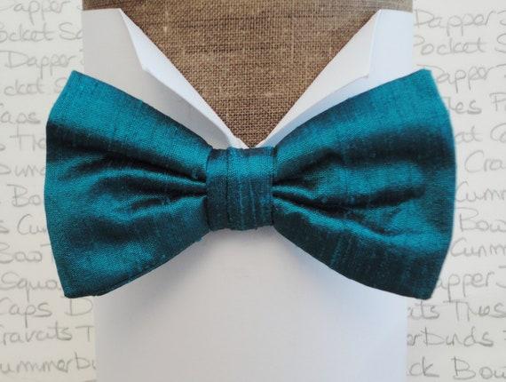 Bow Tie, Silk Bow Tie, pre tied bow tie, self tie bow tie, peacock blue silk bow tie