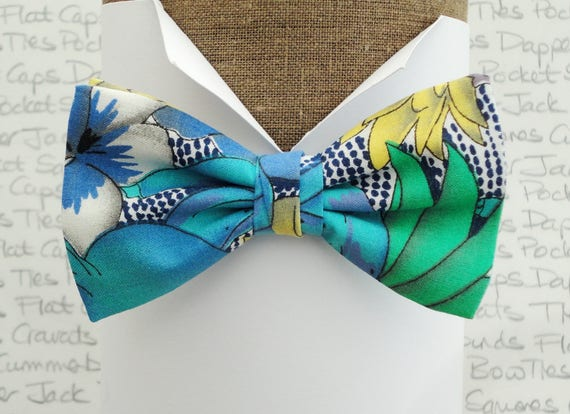 Blue tropical bow tie, bow ties for men, pre tied bow tie