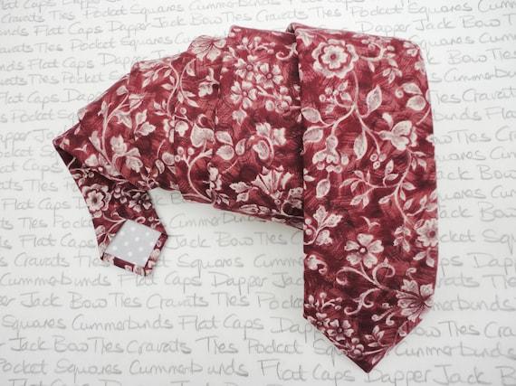 Neck ties for men, floral tie for men, wedding tie, burgundy floral tie