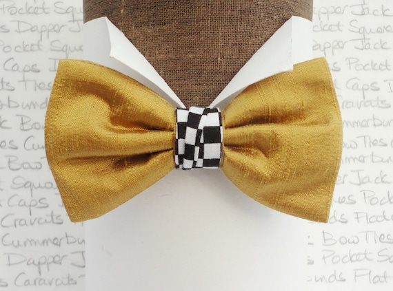 Gold Silk Bow Tie With a Chequered Centre Trim, Bow Ties For Men