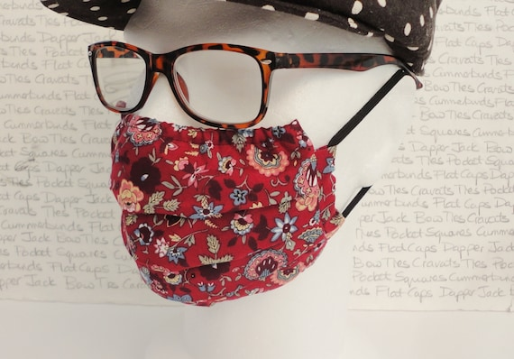 Pair of Burgundy Floral Face Masks, Adult Face Mask, Washable, Reusable, Pocket for Filter
