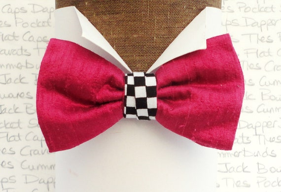 Cerise Pink Silk Bow Tie with a Chequered Centre Trim, Bow Ties For Men, Gifts for Men
