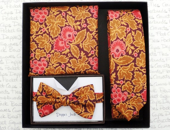Gift Set, Box Set, Gifts For Men, Xmas Gifts, Necktie Pocket Square and Bow Tie Gift Set