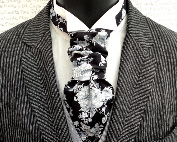 Scrunchie Wedding Cravat, White and Grey Roses on a Black Background Pre Tied Cravat
