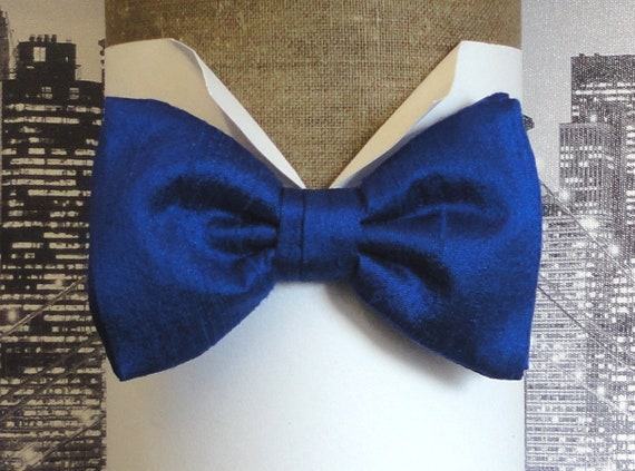 Electric blue silk bow tie, bow ties for men, pre tied or self tied bow tie