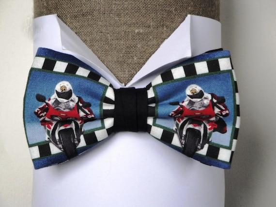 Motorbikes print bow tie, men's bow tie, pre tied bow tie