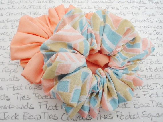 Scrunchies, Pack of Two Scrunchies, Peach Scrunchie, Pastel Print Scrunchie, Pastel Hair Accessories