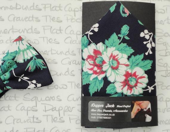 Pocket square, floral pocket square, navy blue floral pocket square
