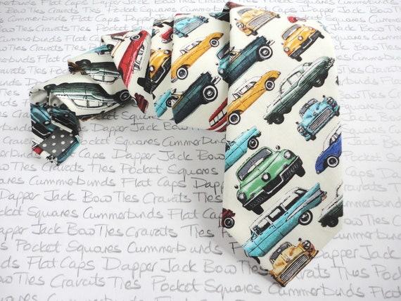 Classic Car Print Tie, Ivory Tie, Car Themed Tie