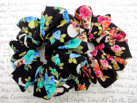 Pack of Two Scrunchies, Skull and Roses Scrunchies, Perfect Gift For a Sister, Mother, Auntie, Girlfriend, Gifts For Girls