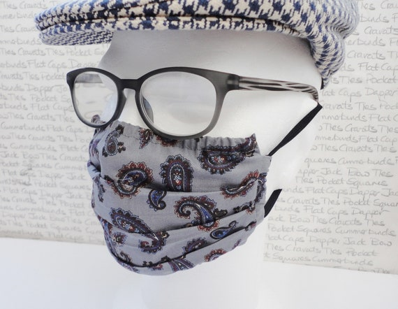 Pack of Two Face Mask Covers, Grey Paisley Reusable Face Mask, Washable Face Mask, Pocket For Filter, Fashionable Face Mask, Adult Face Mask