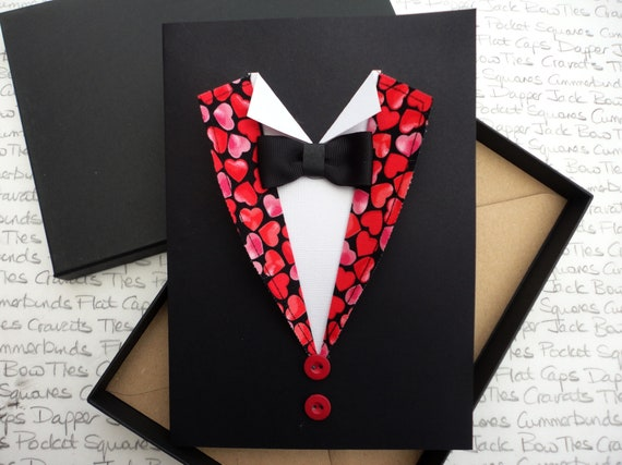 Valentines Day Greeting Card, Cards For Men, Heart Print greeting Card, Boxed Greeting Card