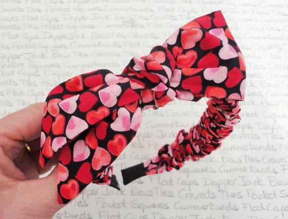 Heart Print Hair Band, Ruched Hair Band With Detachable Bow, Valentines Gift, Gifts For Girls, Birthday Gifts For Girls