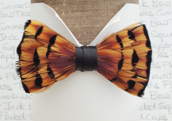 Feather bow tie, bow ties for men, pheasant feather bow tie