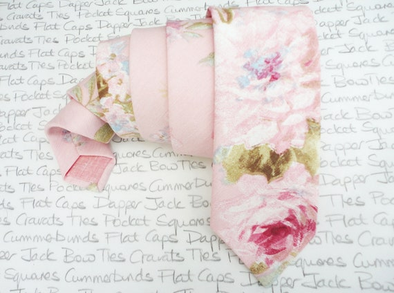 Blush pink floral neck tie, wedding ties for men, roses print neck tie
