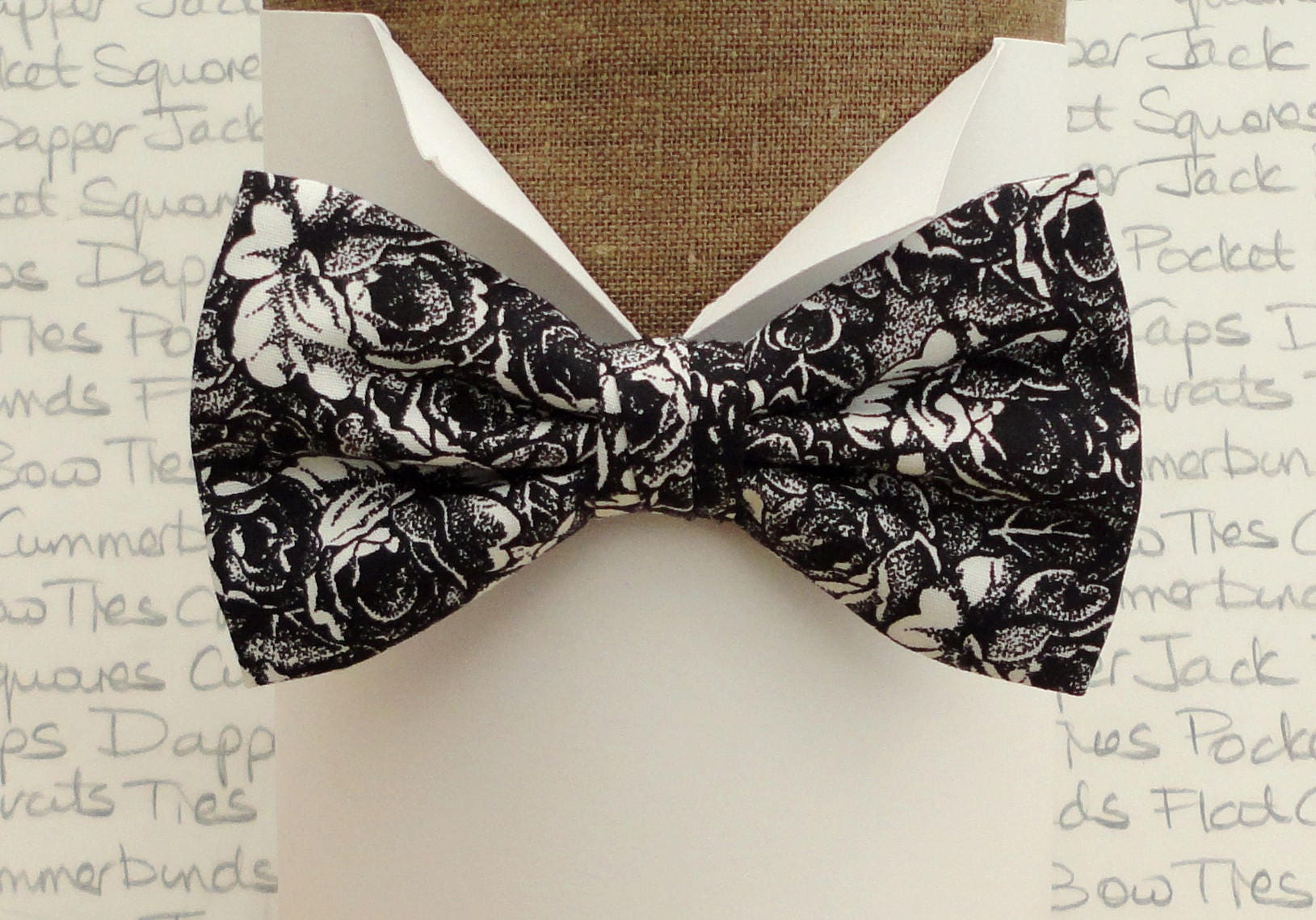 d4b07b4df520 Bow ties for men, Bow Ties UK, black and white roses bow tie