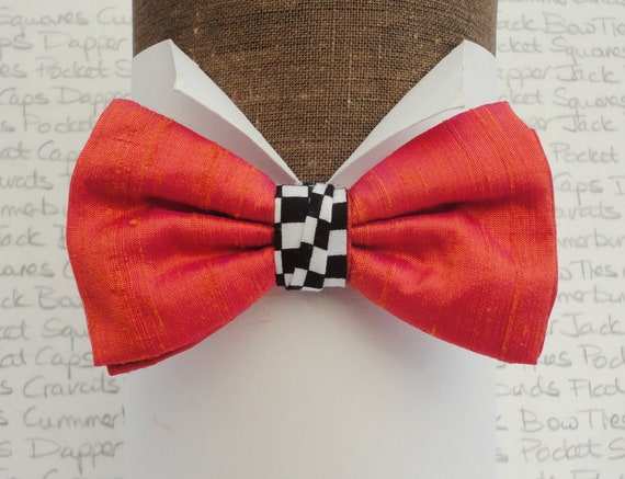 Salmon/Orange Silk Bow Tie With a Chequered Centre Trim, Bow Ties For Men