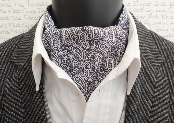 Navy blue paisley reversible cravat.  Historic cars on a navy background on the reverse side.