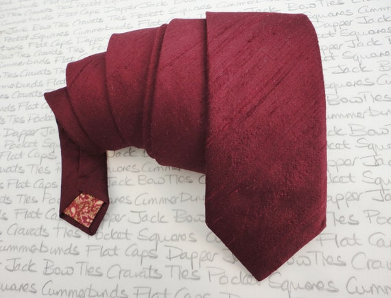 Silk dupion burgundy neck tie, ties for men, wedding tie