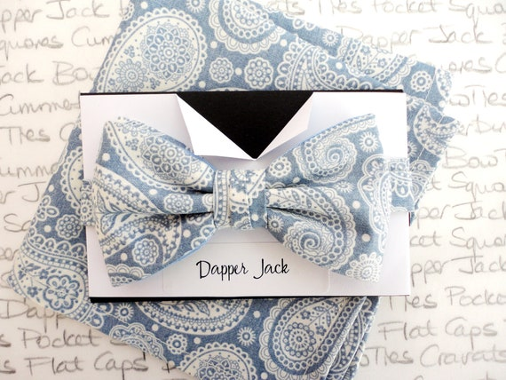 Bow Tie and Pocket Square Gift Set, Gifts For Men, Box Set, Gift Set, Birthday Gift, Groom Bow Tie and Pocket Square Set