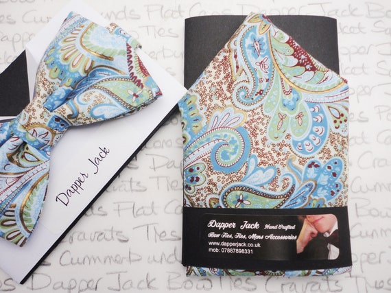 Pale Blue Paisley Pocket Square, Cotton Lawn Pocket Square