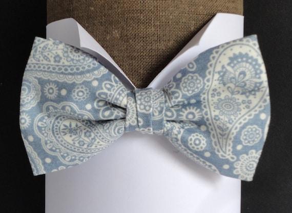 Blue paisley bow tie, pre tied or self tie bow tie, bow ties for men, wedding bow tie