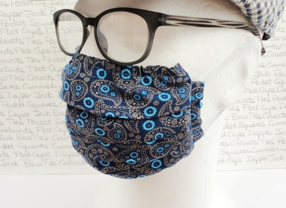 Two Blue Paisley Face Masks, Three Layer Mask, Washable Face Mask, Designer Face Mask, Unisex Face Mask