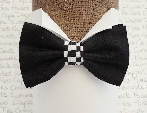 Black Silk Bow Tie With a Chequered Flag Centre Trim, Bow Ties For Men
