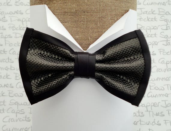 """Bow Ties. Bow Ties For Men. Men's Bow Ties. Carbon fibre pre tied bow tie with adjustable band, will fit neck size up to 20"""""""