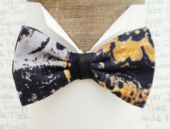A one off velour bow tie trimmed in black silk dupion, bow ties for men