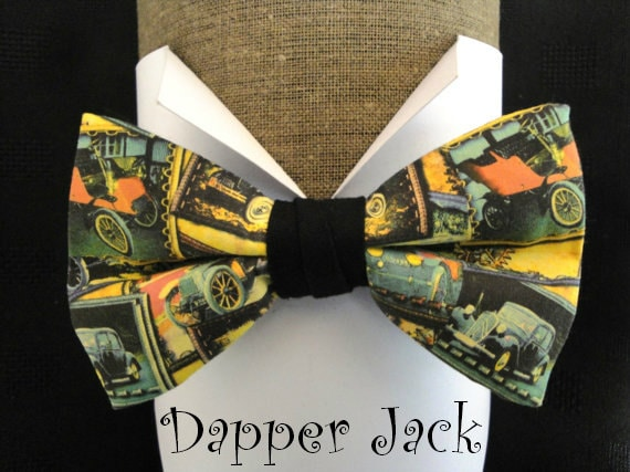 Bow Tie, vintage cars print, pre-tied with adjustable band to fit up to neck size 20""