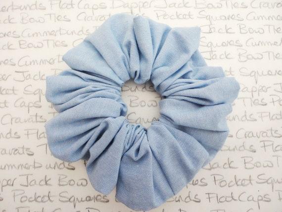 Blue Chambray Scrunchie, Denim Scrunchie, Pale Blue Scrunchie, Pastel Scrunchies, Trending Hair accessories