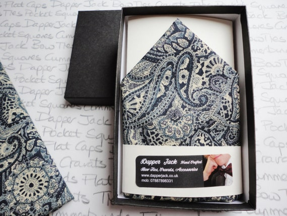 Pocket Square, Blue Paisley Pocket Square