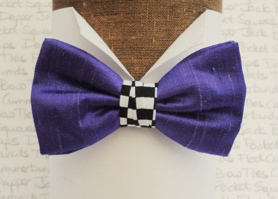 Purple Silk Bow Tie With a Centre Chequered Trim, Bow ties For Men