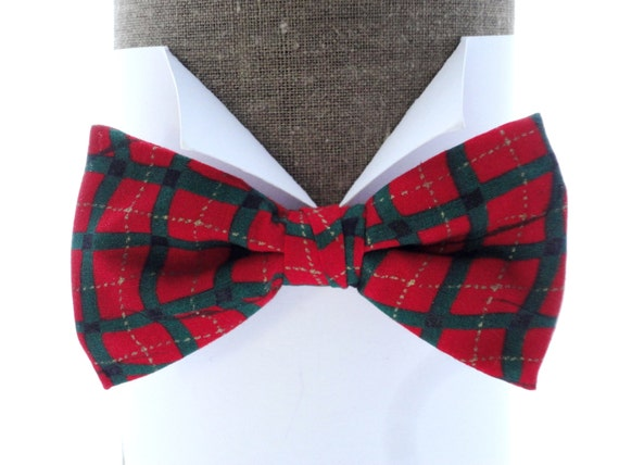 "Red and Green Check Print Bow Tie, pre tied or self tie bow tie, will fit neck size up to 20"" (50cms)"