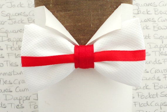 England Flag Bow Tie, Pre Tied Bow Tie, 100% Cotton Pique Bow Tie Trimmed With Red Silk