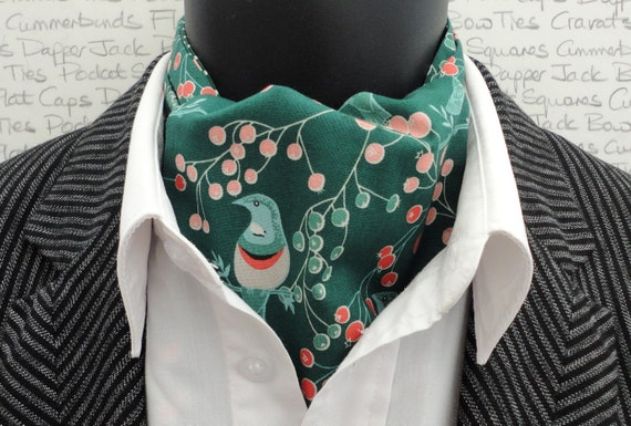 Green Woodland Print Cravat, Ascot, Cravats For Men, Fathers Day, Gifts for Men, Wedding Cravat