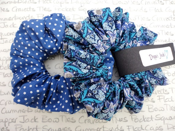 Pack of Two Scrunchies, Blue Scrunchies, Perfect Gift For a Sister, Mother, Auntie, Girlfriend, Gifts For Girls