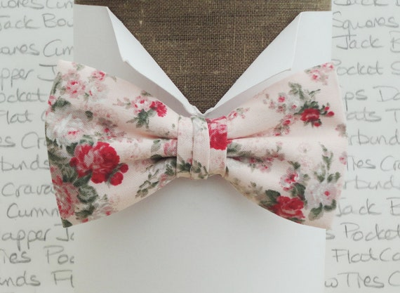 Bow ties for men, floral bow ties, pink floral bow ties, wedding bow tie, blush pink bow tie