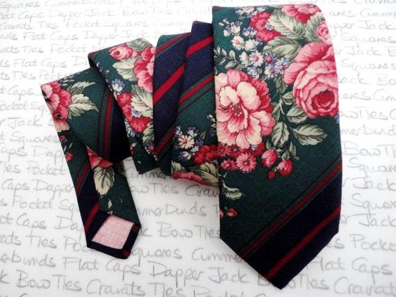 Floral Necktie, Wedding Necktie, Neckties For Grooms, Green Neckties, Men's Suit Accessories, Blush Pink and Green Neckties