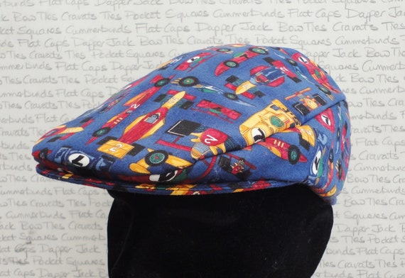 Driving hat, flat caps for men, racing cars print flat cap