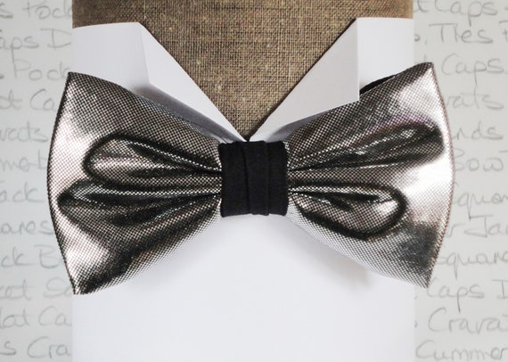 Silver Bow Tie, Bow Ties, Dickie Bow, Wedding Bow Tie, Fashion For Men