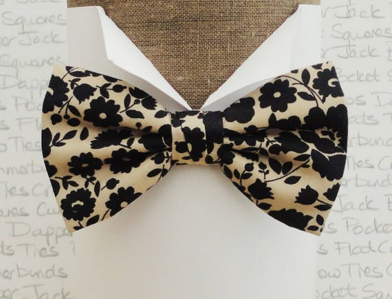 Bow ties for men, floral bow tie, black and beige bow tie